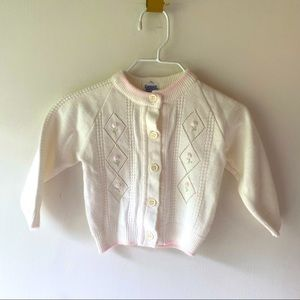 Carriage Boutiques White & Pink Cardigan 0-6 mo